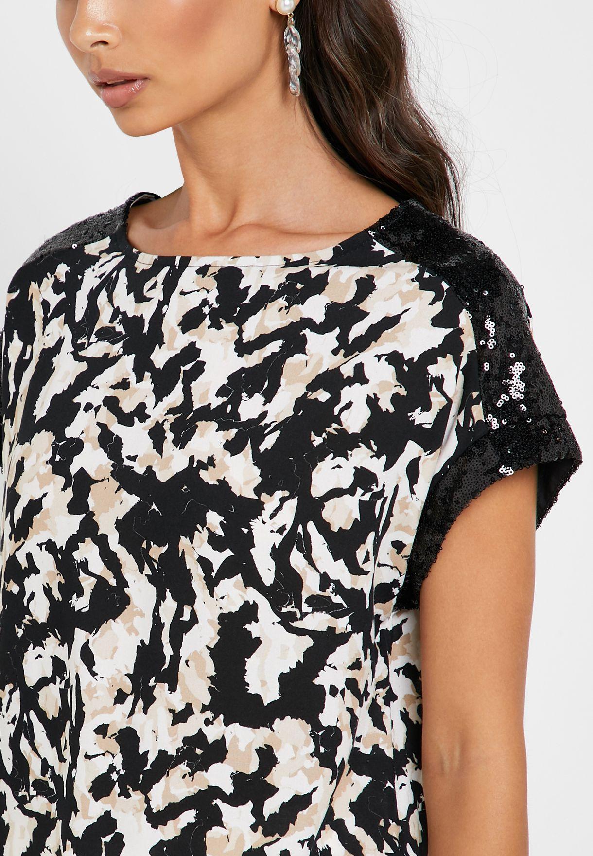 Sequin Trim Printed T-Shirt