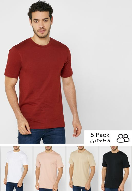 5 Pack Crew Neck T Shirts
