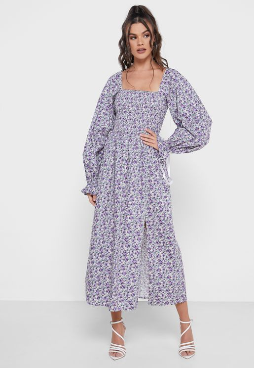 Shirred Bust Puff Sleeves Midi Dress