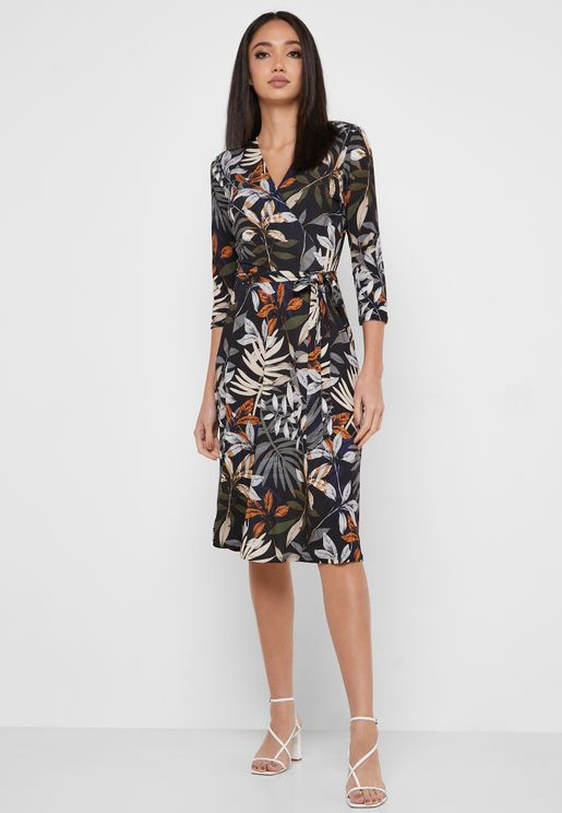 Palm Print Wrap Dress