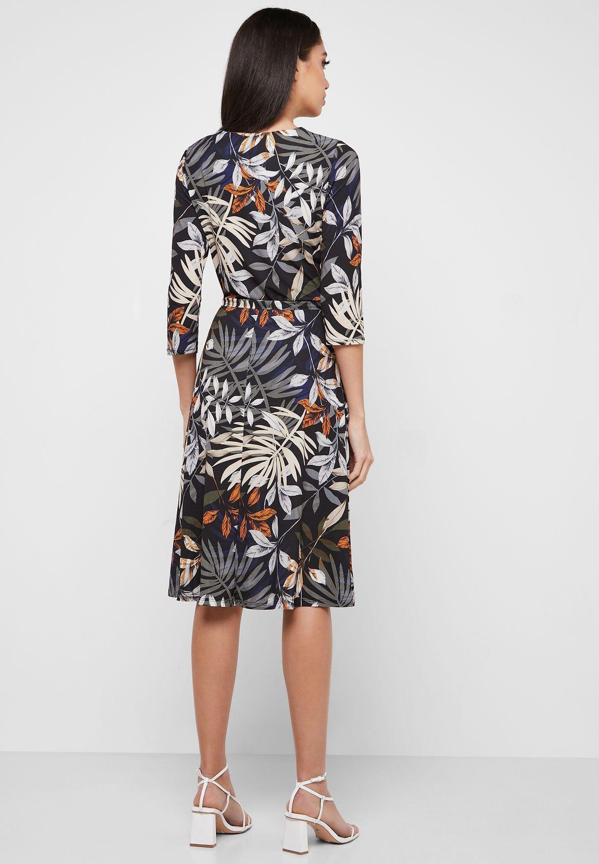 Palm Print Wrap Dress