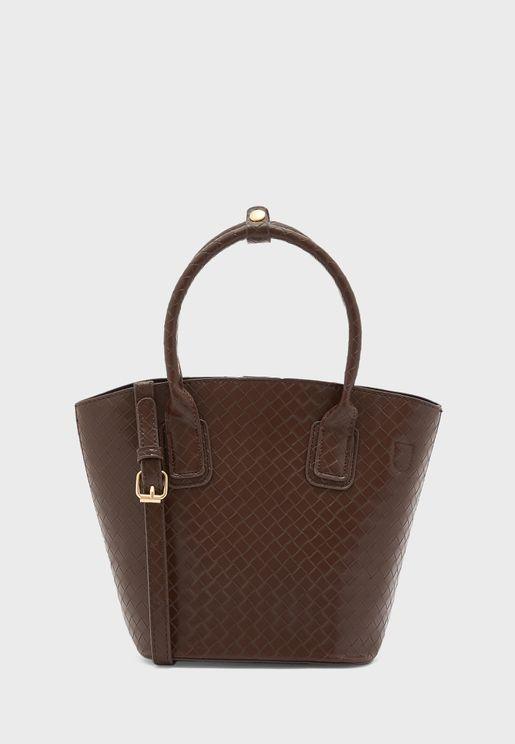 Weave Top Handle Tote Handbag