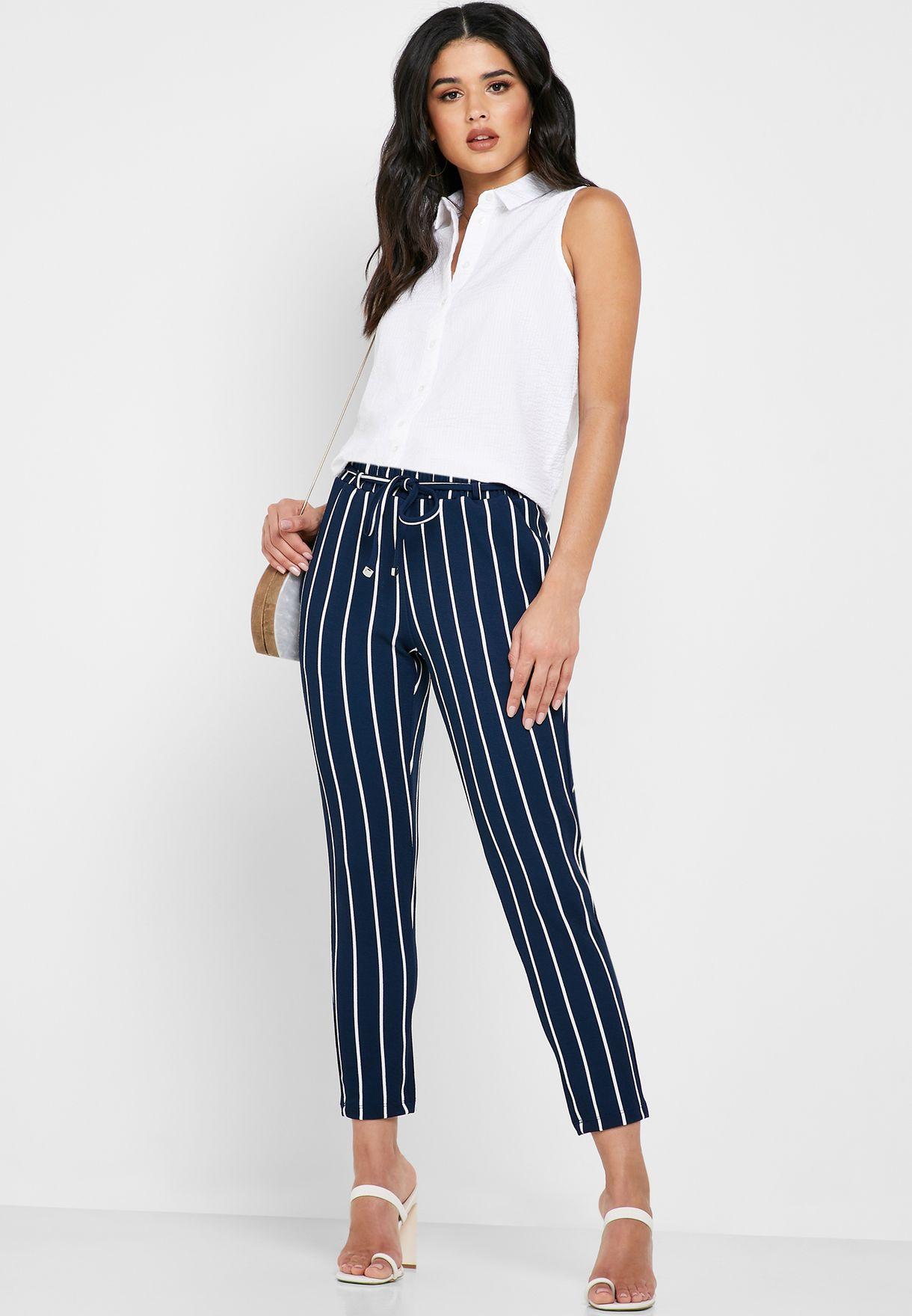Tie Waist Striped Pants