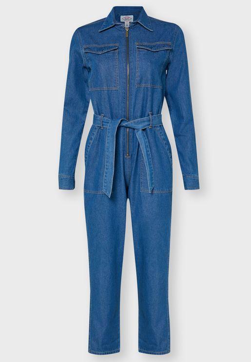 Pocket Detail Belted Denim Jumpsuit