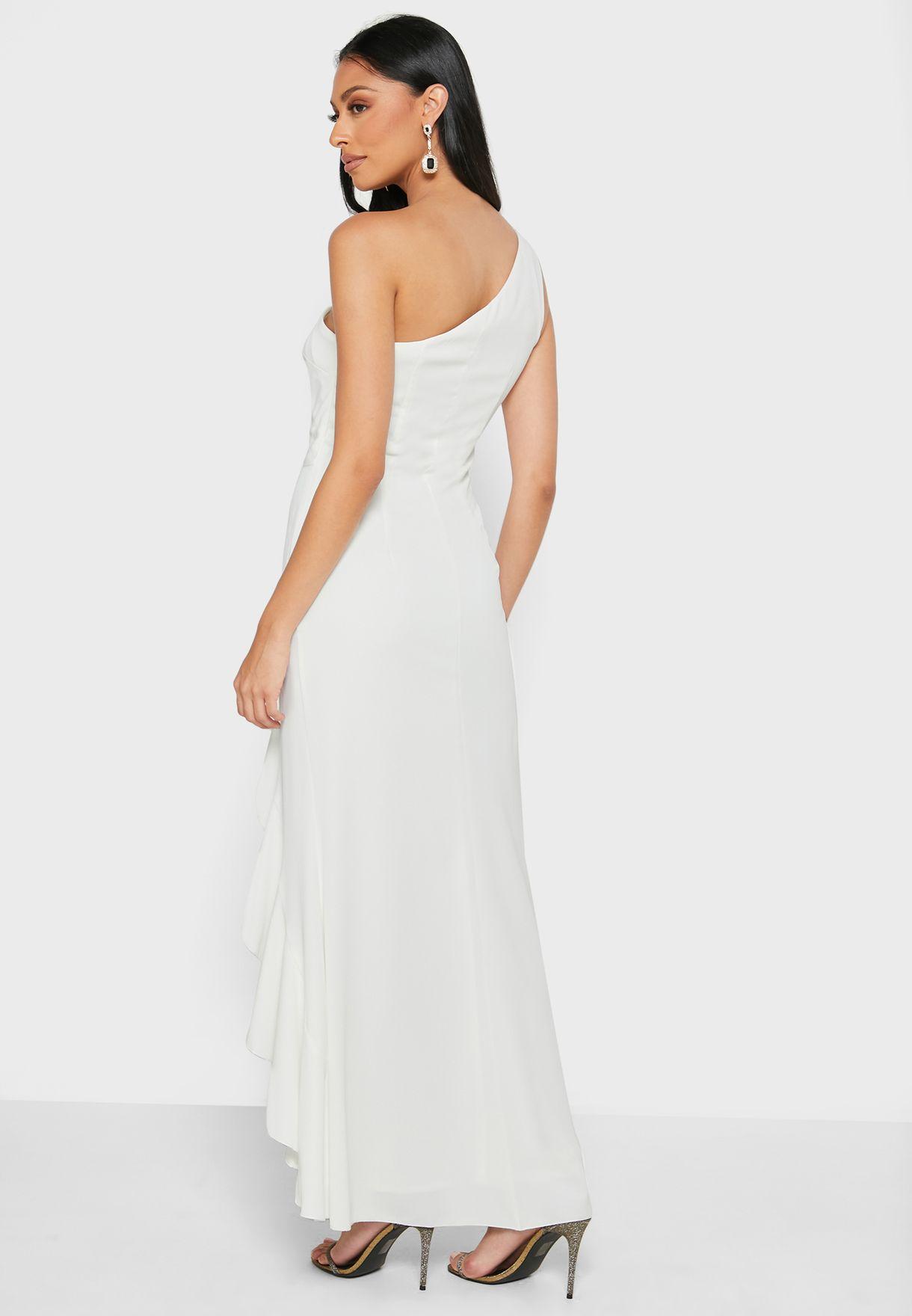 فستان بكتف واحد واطراف مكشكشة