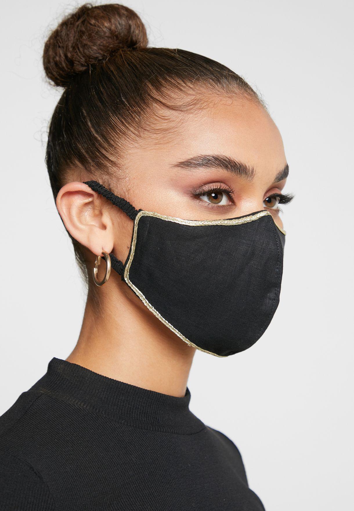 Gold Edge Linen Mask