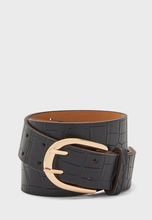 Croc Effect Slim Belt