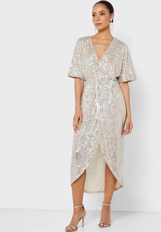 Surplice Sequin Dress