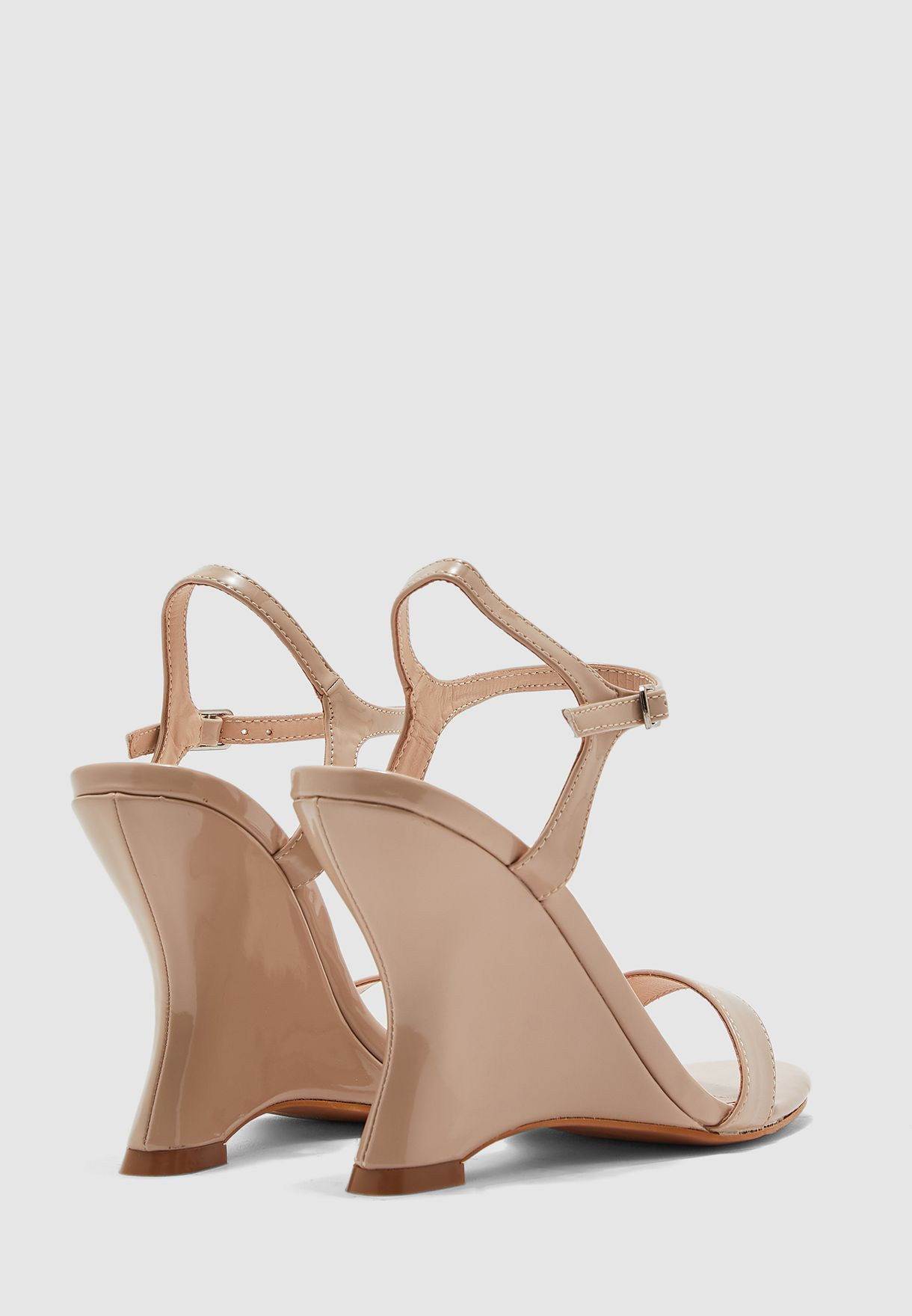 Extreme Curved Ankle Strap Wedge Sandal