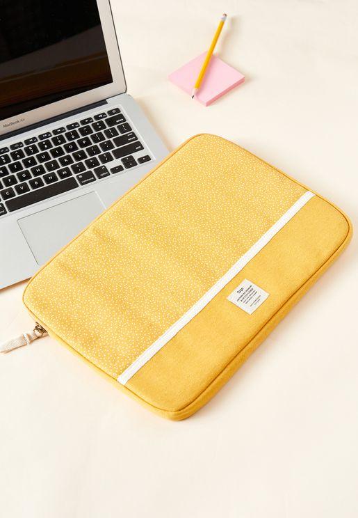 "13"" Mustard Micro Spot Canvas Laptop Case"