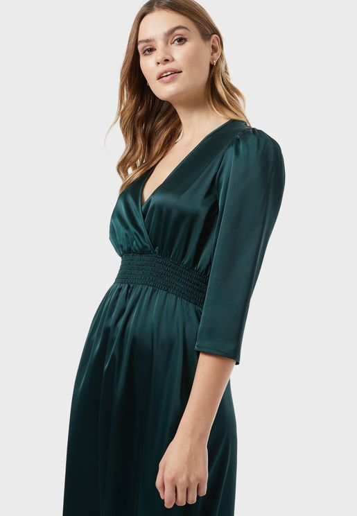 Shirred Waist Wrap Dress