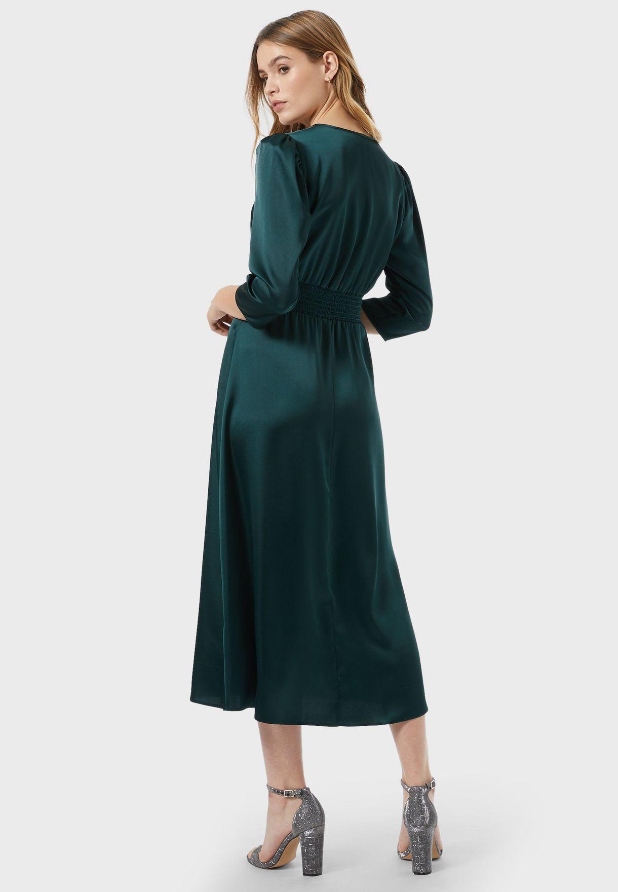 Shirred Waist Wrap Dress