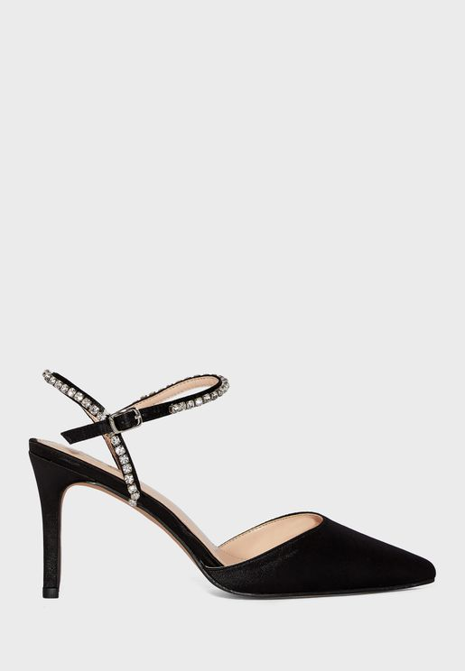 Pointed Diamante Ankle Strap Pump
