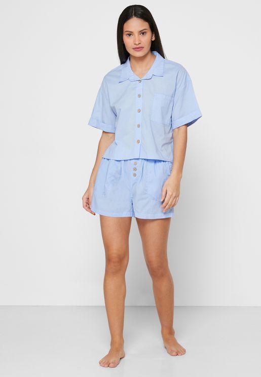 Button Down Shirt & Shorts Set