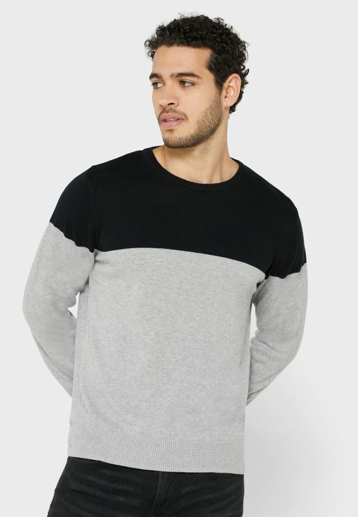Colorblock Crew Neck Knit