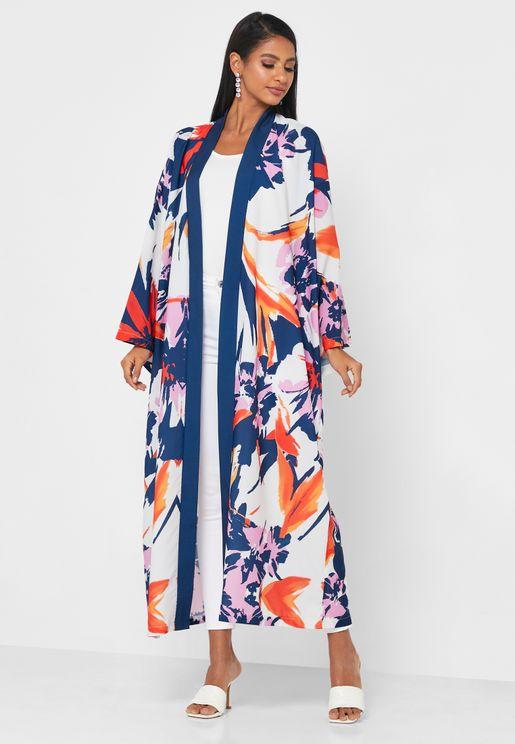 Wide Sleeves Printed Abaya