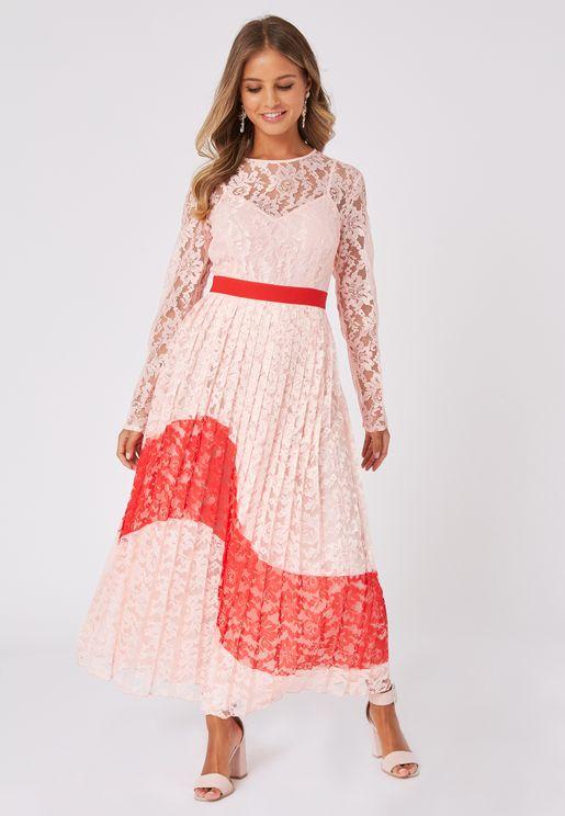 Lace Back Keyhole Pleated Dress