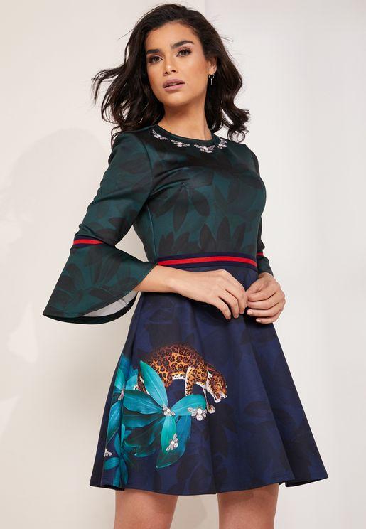 Printed Frill Sleeve Skater Dress