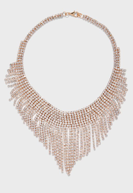 Diamante Tassel Necklace