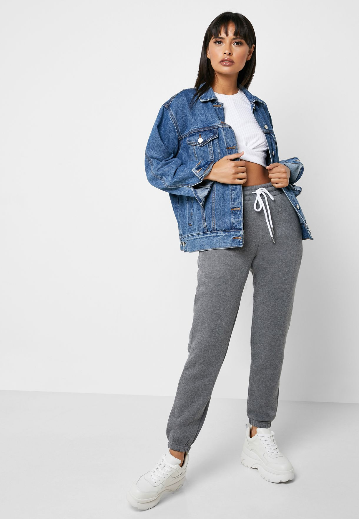 Drawstring Waist Cropped Sweatpants