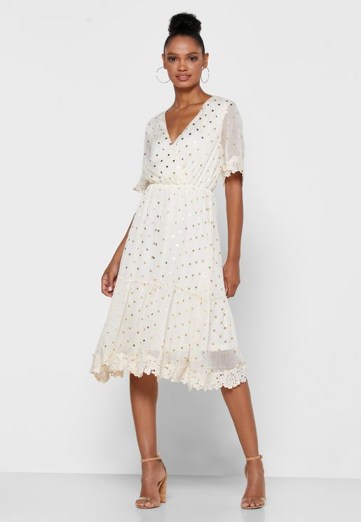 Metallic Dotted Wrap Front Mini Dress
