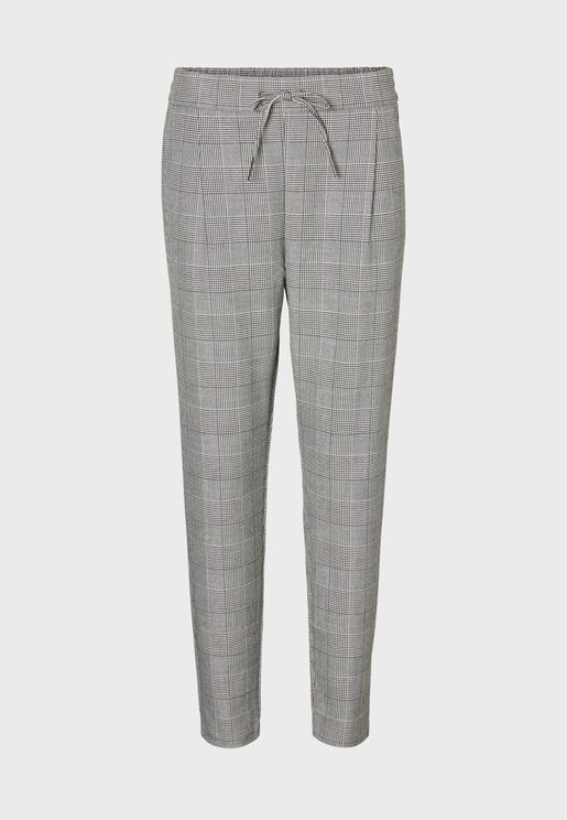 Tie Waist Checked Pants