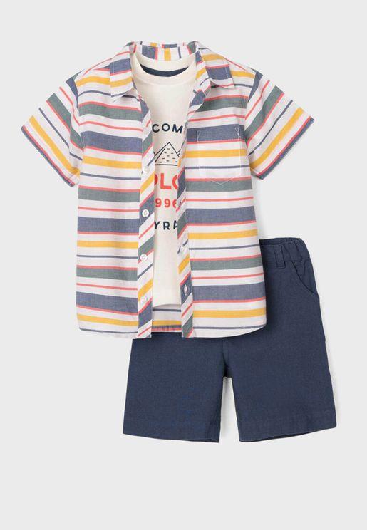 طقم شورت + قميص مخطط