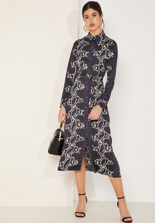 Snake Print Belted Shirt Maxi Dress