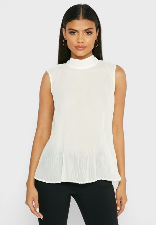 Pleated Tie Back High Neck Top