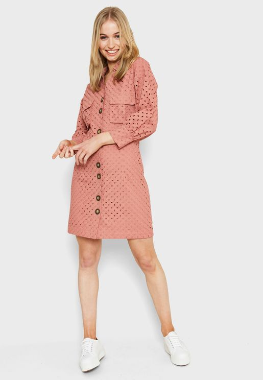 Puff Sleeve Printed Shirt Dress