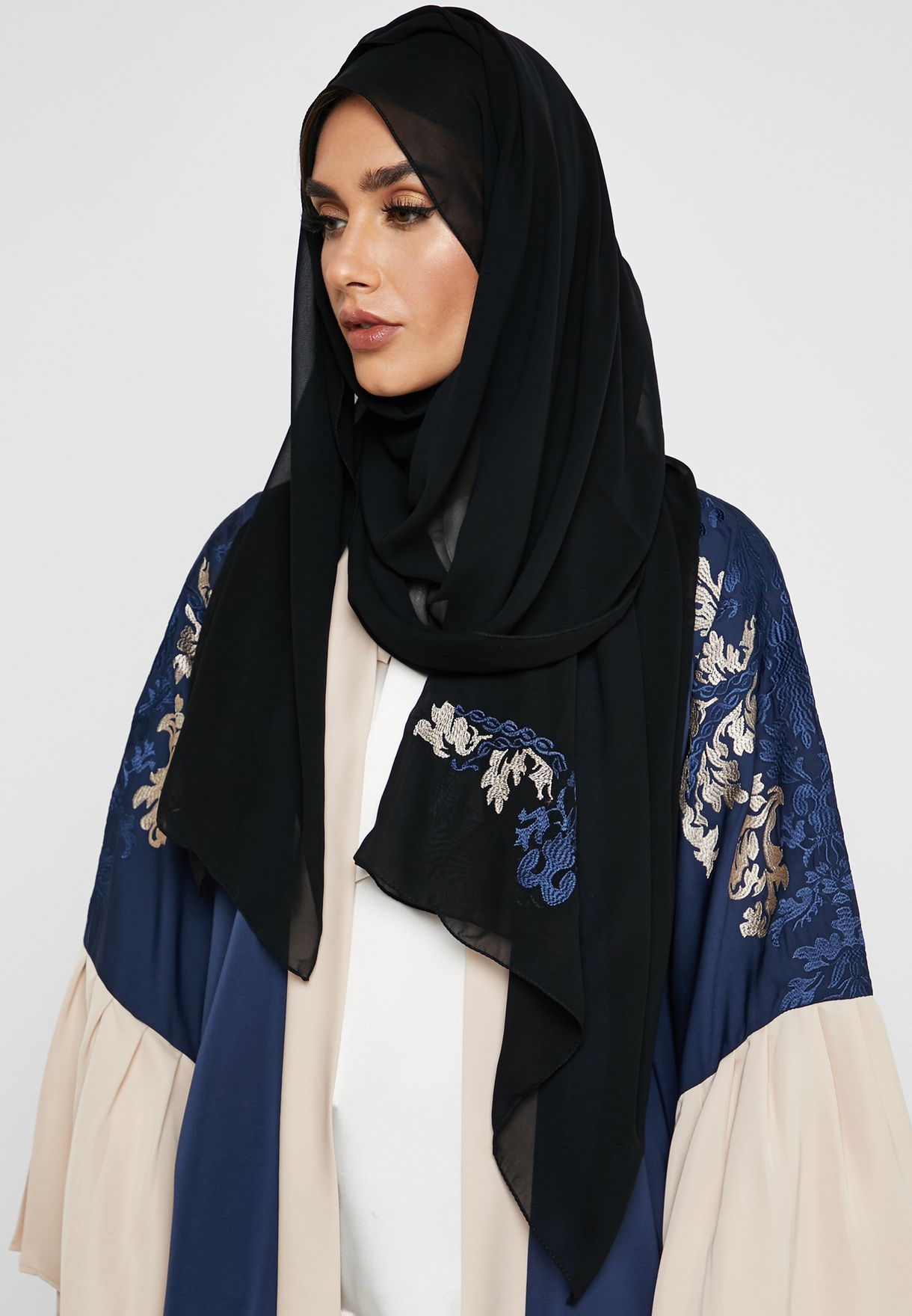 Pleated Sleeve Embroidered Abaya