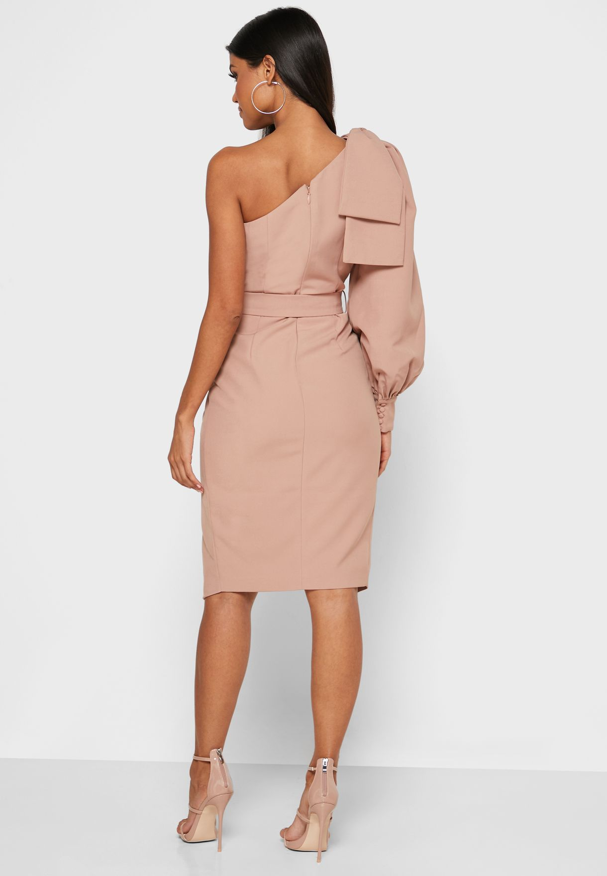 One Sleeve Belted Wrap Dress