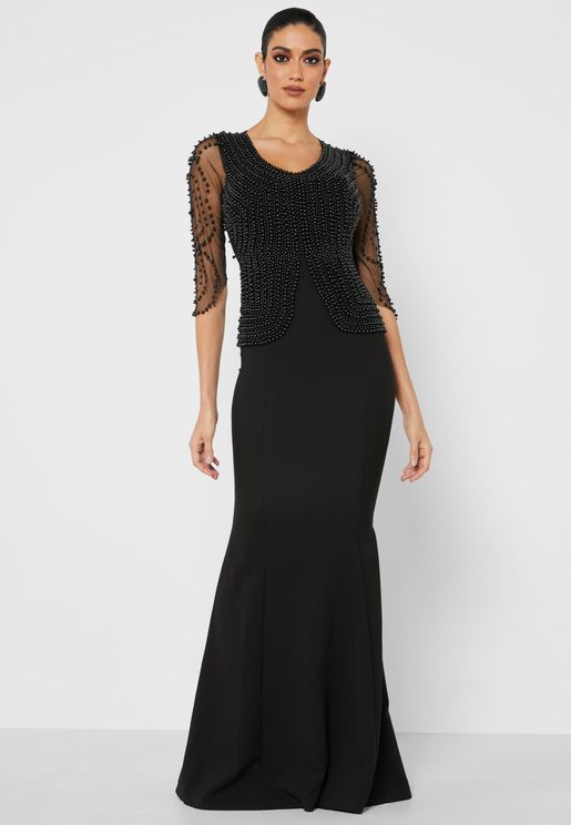 Beaded Top Sheer Sleeve Maxi Dress