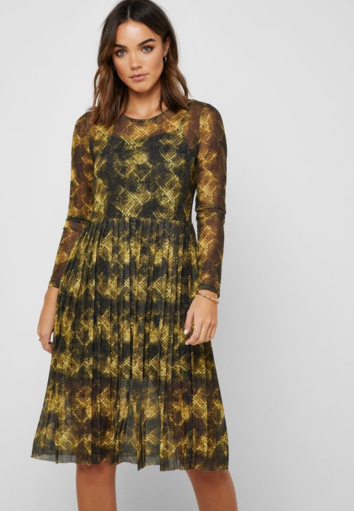 Animal Print Mesh Overlay Dress