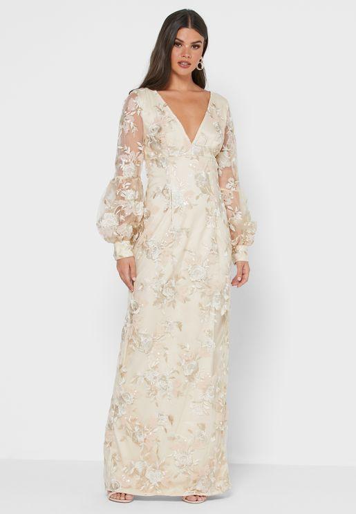 Trinity Puff Sleeve Lace Detail Dress