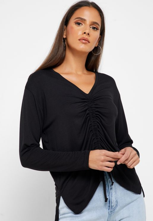 Front Ruched Long Sleeve Top