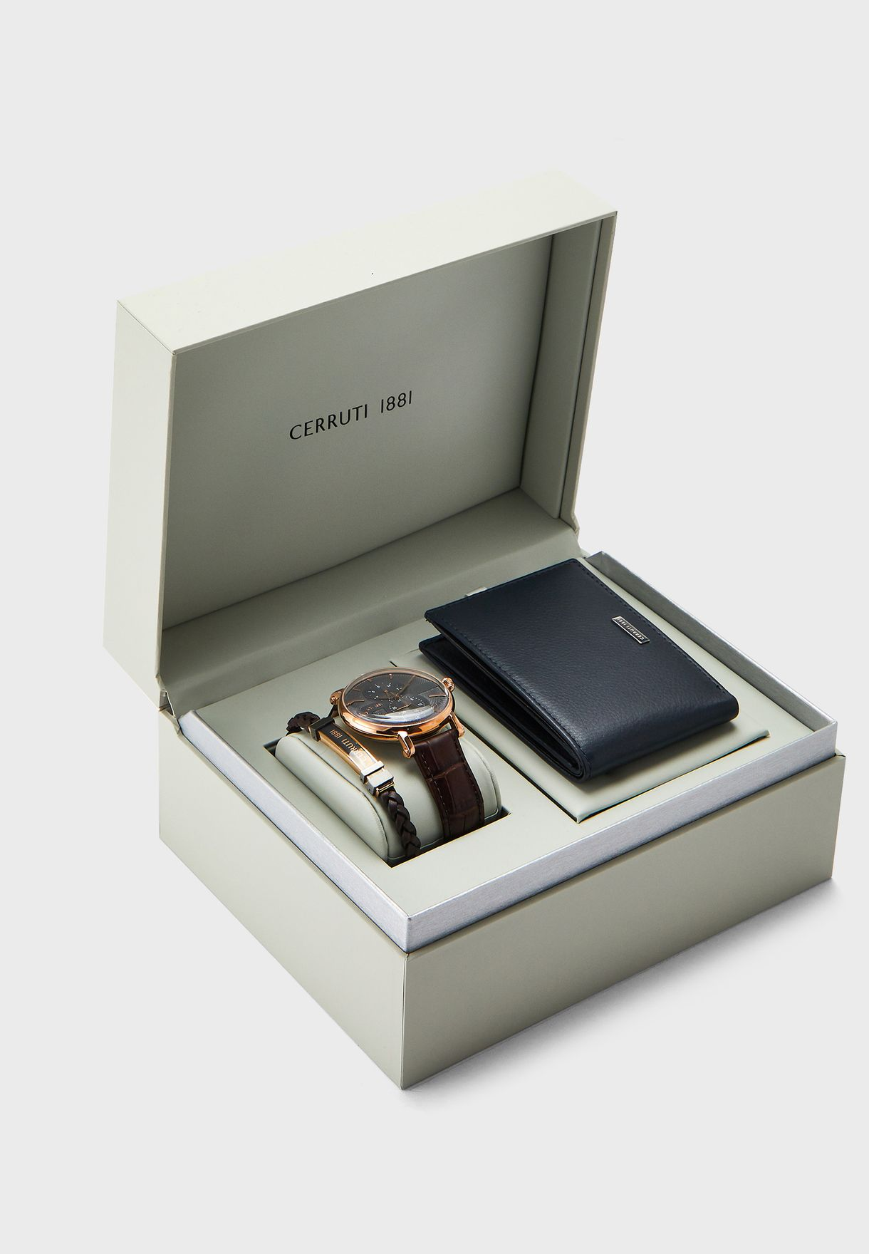 Analog Watch+Bracelet+Bifold Purse Set