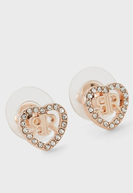 Pave Heart Delicate Stud Earring