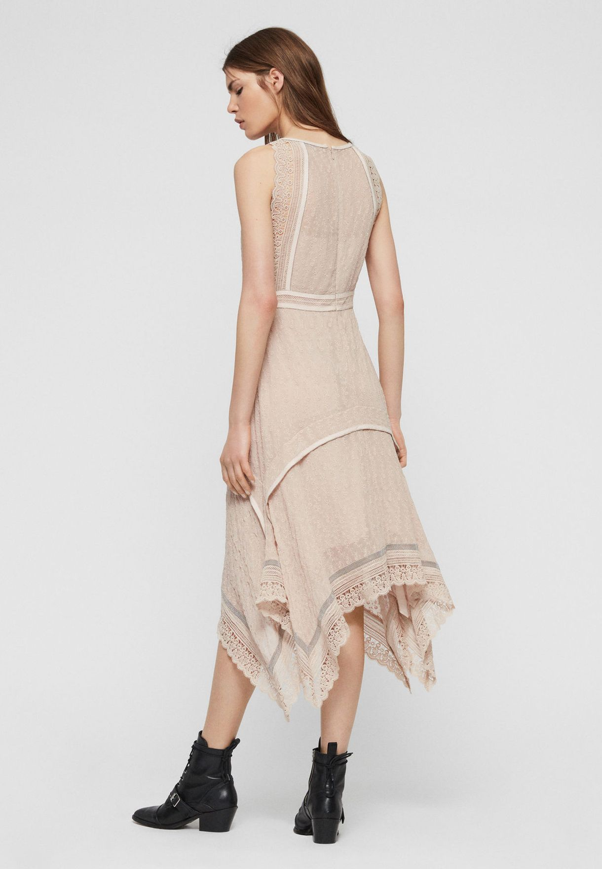 Alicia Asymmetric Lace Trim Dress