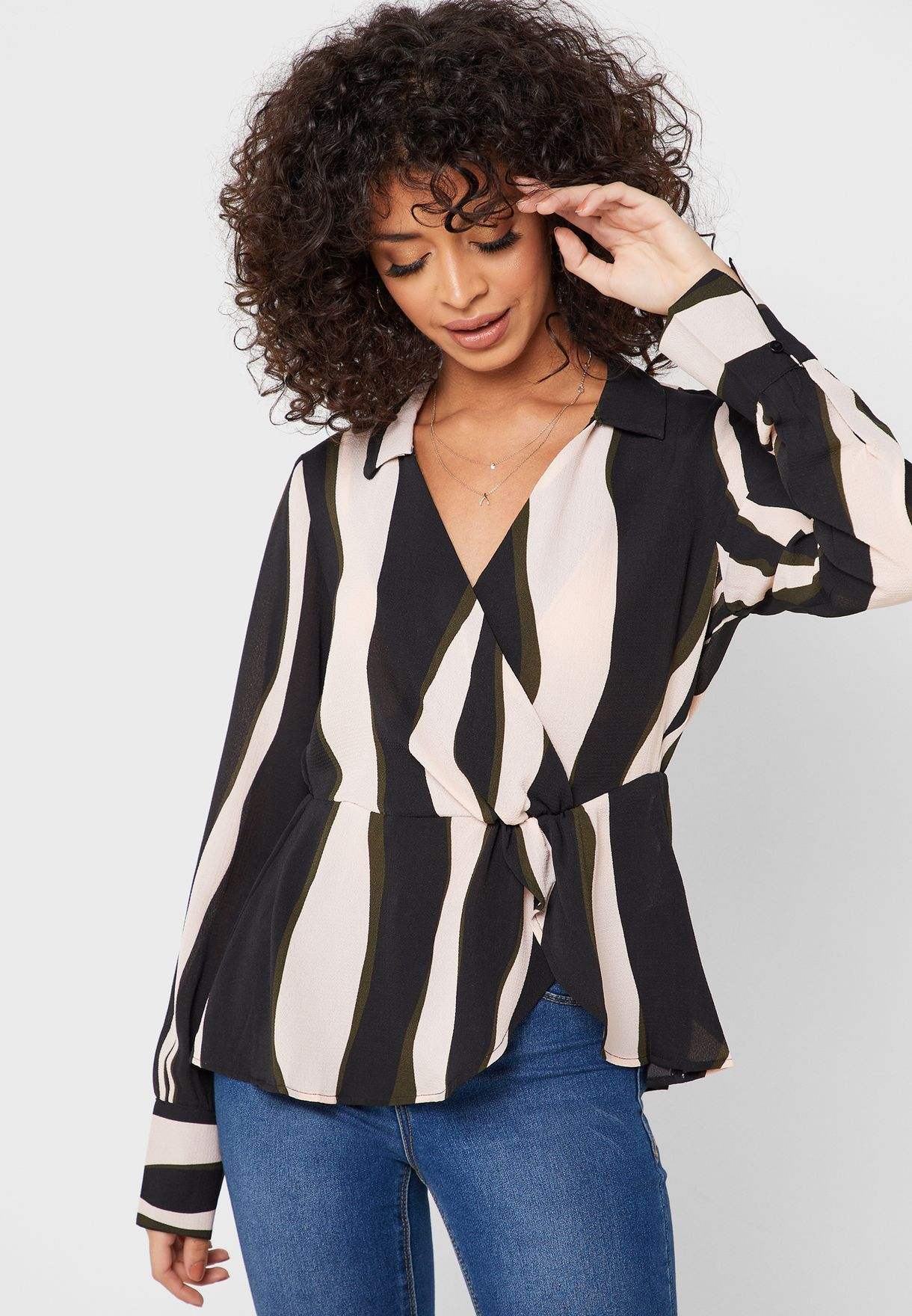 V-Neck Printed Wrap Top