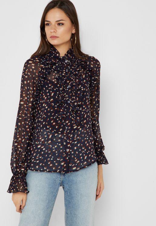 Leopard Print Ruffle Trim Shirt