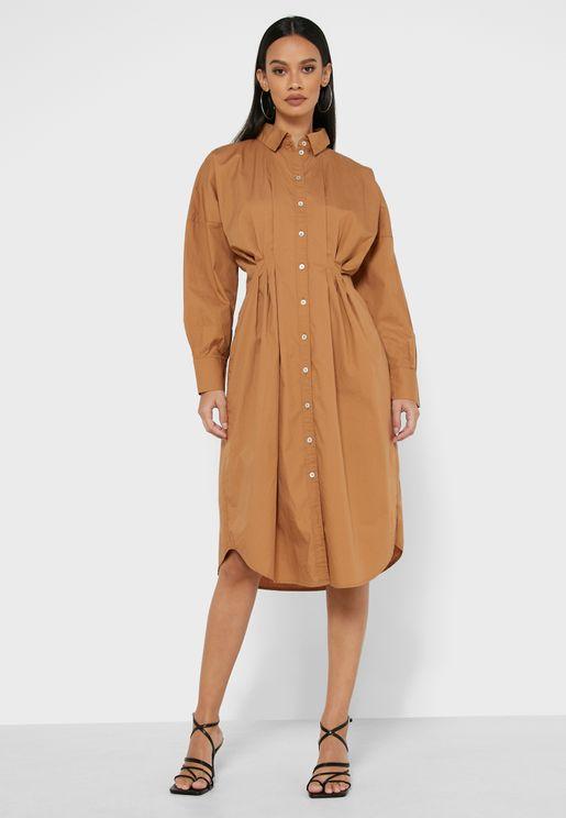 Pleated Side Shirt Dress