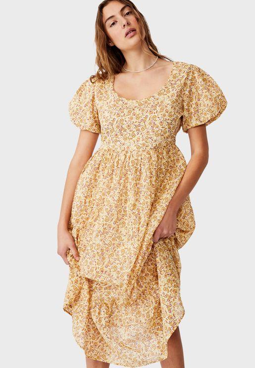 Woven Faith Babydoll Medaxi Dress