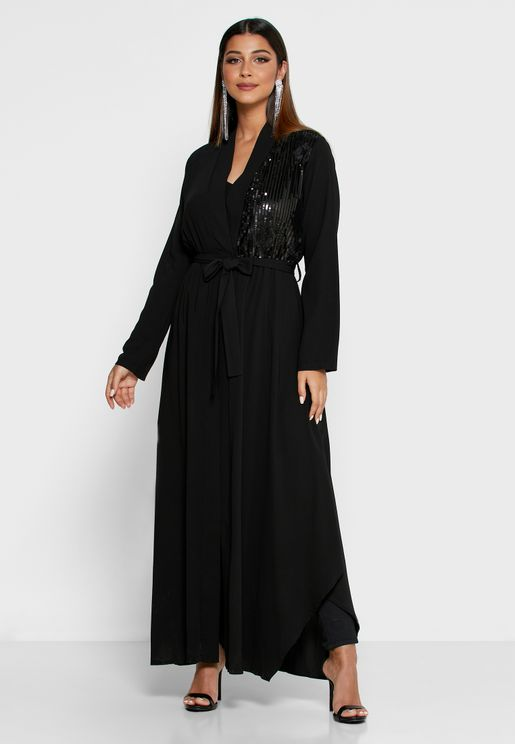 One Side Sequin Abaya