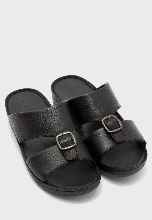 Wide Strap Buckle Sandals