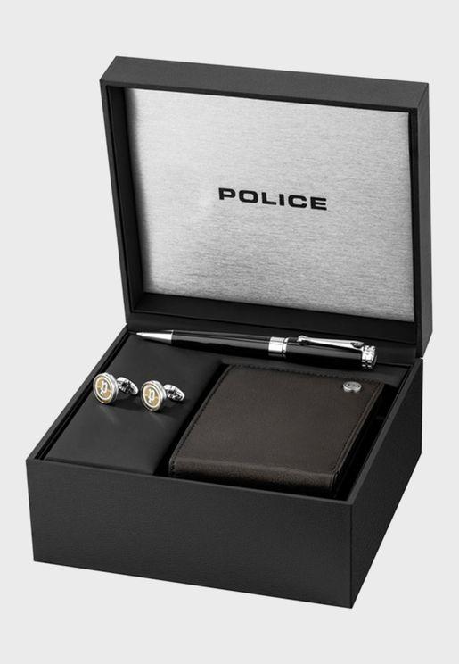Logo Wallet + Cufflinks Pen Gift Set