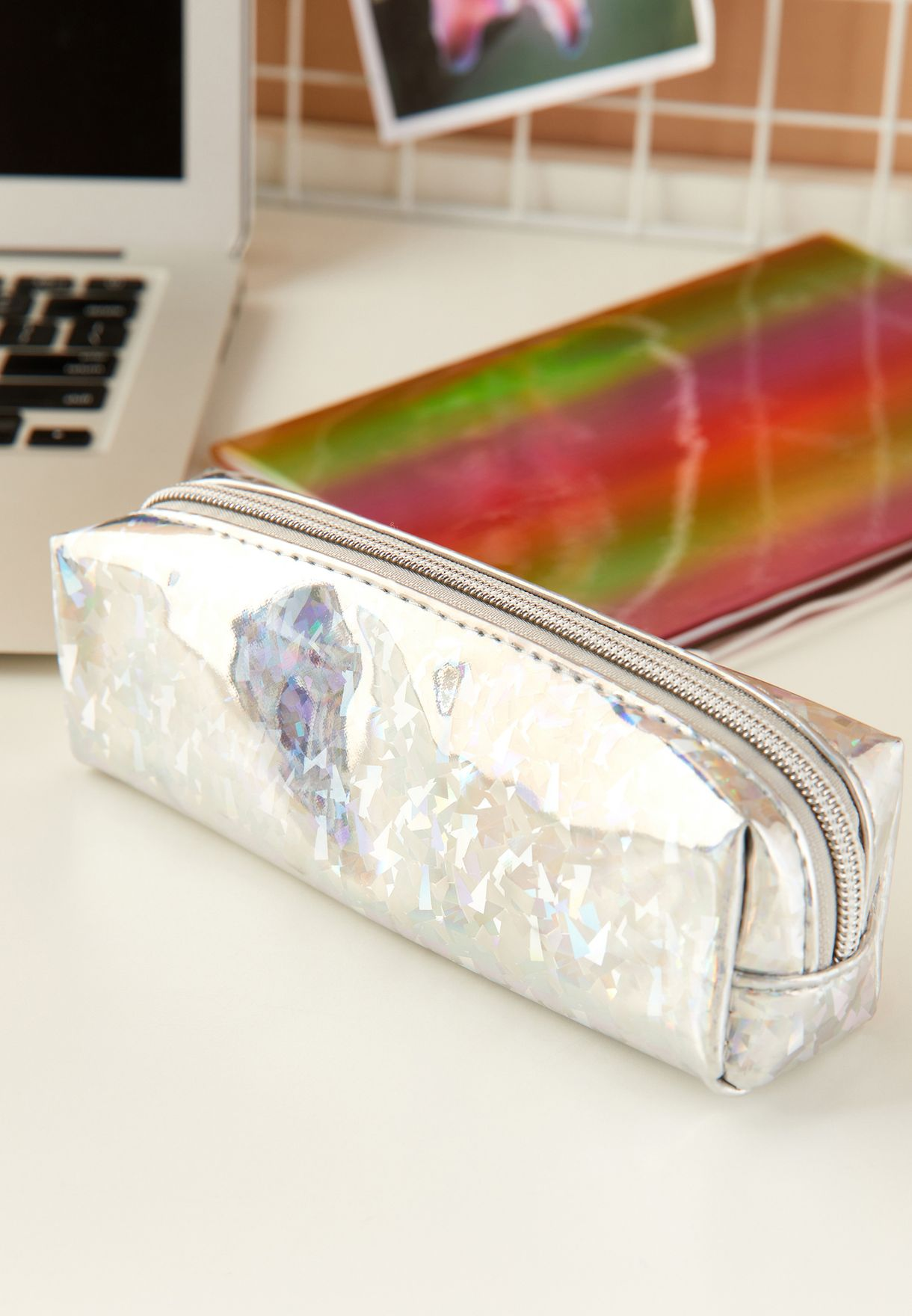 Iridescent Metallic Silver Pencil Case