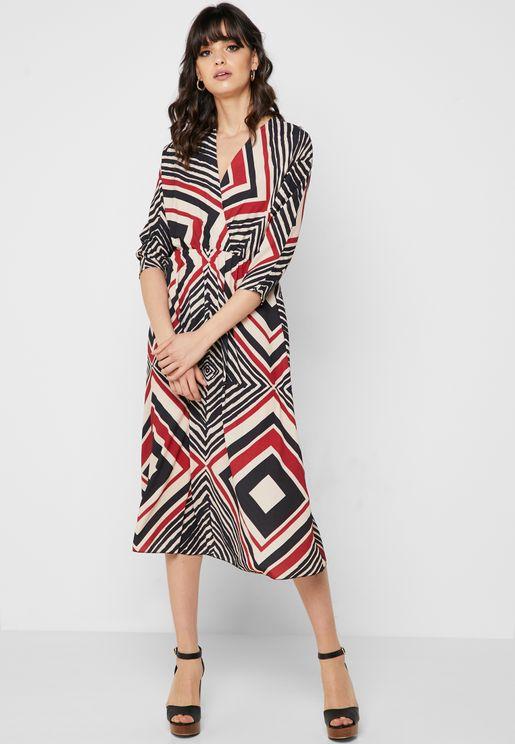 Aztec Wrap Front Midi Dress