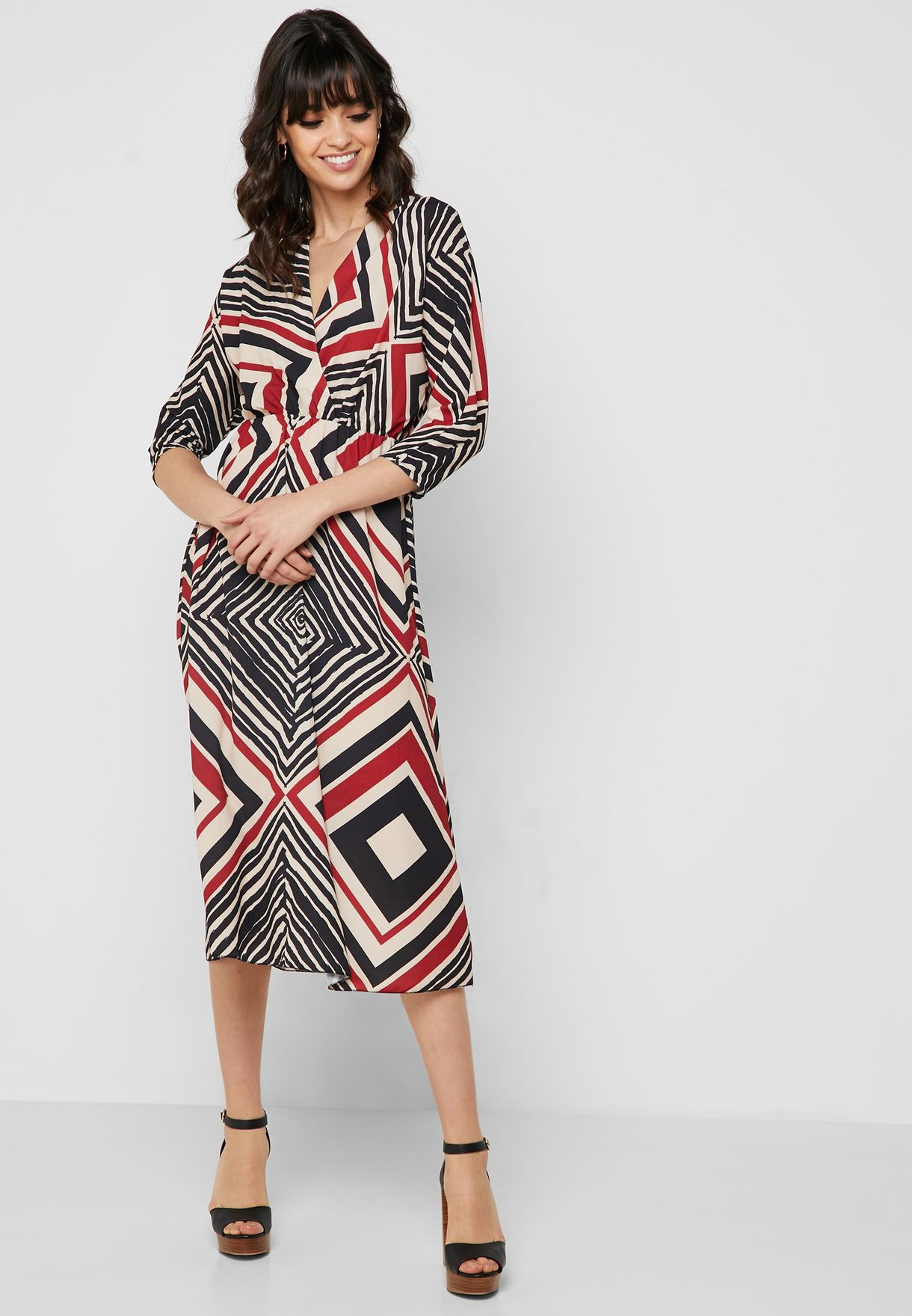 Aztec Wrap Front Midi Dress
