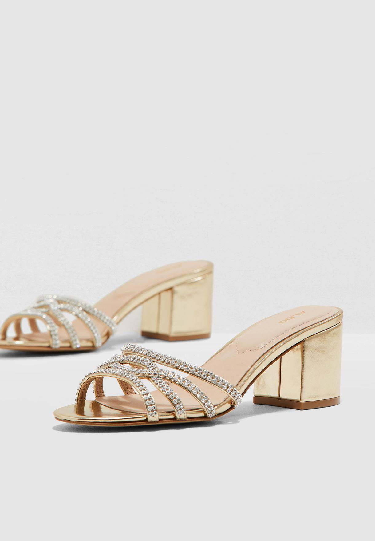 c32118c904b5 Shop Aldo gold Chiniel Sandal CHINIEL82 for Women in Qatar ...